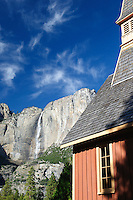 A view of Upper Yosemite Falls from behind the Yosemite Chapel