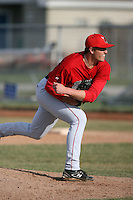April 5, 2009:  Relief pitcher Tom Mueller (37) of the Ball State Cardinals during a game at Amherst Audubon Field in Buffalo, NY.  Photo by:  Mike Janes/Four Seam Images
