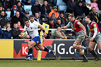 Kahn Fotuali'i of Bath Rugby goes on the attack. Aviva Premiership match, between Harlequins and Bath Rugby on March 2, 2018 at the Twickenham Stoop in London, England. Photo by: Patrick Khachfe / Onside Images