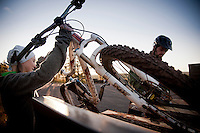 Mountain bikers unload bikes from their truck while biking in Copper Harbor Michigan Michigan's Upper Peninsula.