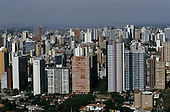 Curitiba, Parana State, Brazil. Aerial view of the city centre with high and low rise buildings.