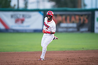 Orem Owlz center fielder D'Shawn Knowles (4) rounds the bases after hitting his second home run of the game during a Pioneer League game against the Ogden Raptors at Home of the OWLZ on August 24, 2018 in Orem, Utah. The Ogden Raptors defeated the Orem Owlz by a score of 13-5. (Zachary Lucy/Four Seam Images)