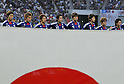U-22Japan team group line-up (JPN), JUNE 19th, 2011 - Football : U-22 Japanese national team members sing their national anthem before the start of the game of the Asian men's football qualifiers round 2 for London Olympics between Japan and Kuwait, held at the TOYOTA Stadium in Aichi prefecture, Japan on June 19, 2011.Japan beats Kuwait 3-1. (Photo by AFLO).