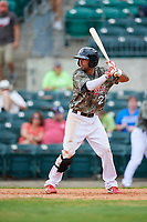 Arkansas Travelers shortstop Joey Wong (21) at bat during a game against the Frisco RoughRiders on May 28, 2017 at Dickey-Stephens Park in Little Rock, Arkansas.  Arkansas defeated Frisco 17-3.  (Mike Janes/Four Seam Images)