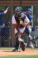 GCL Tigers catcher Arvicent Perez (7) throws down to second in between innings during a game against the GCL Blue Jays on June 30, 2014 at Tigertown in Lakeland, Florida.  GCL Blue Jays defeated the GCL Tigers 3-1.  (Mike Janes/Four Seam Images)