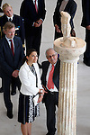 10/9/2009. Athens Greece. Swedish Princess Victoria received and shown around the Acropolis museum by the Greek President Mr Karolos Papoulias and his wife May.  Mr Pantermalis President of museum, the Princess,  admire a statue. Credit Aristidis Vafeiadakis/ZUMA Press