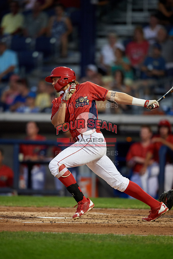Williamsport Crosscutters designated hitter Alec Bohm (5) follows through on a swing during a game against the Mahoning Valley Scrappers on August 28, 2018 at BB&T Ballpark in Williamsport, Pennsylvania.  Williamsport defeated Mahoning Valley 8-0.  (Mike Janes/Four Seam Images)