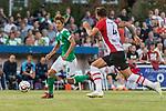 04.09.2018, Hoheellern-Stadion, Leer, GER, FSP, Werder Bremen (GER) vs FC Emmen (NED)<br /> <br /> DFL REGULATIONS PROHIBIT ANY USE OF PHOTOGRAPHS AS IMAGE SEQUENCES AND/OR QUASI-VIDEO.<br /> <br /> im Bild / picture shows<br /> Yuya Osako (Werder Bremen #08) im Duell / im Zweikampf mit Nick Bakker (FC Emmen #04), <br /> <br /> Foto © nordphoto / Ewert