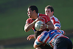 Siale Piutau is driven backwards by Stephen Sasagi. Air New Zealand Air NZ Cup warm-up rugby game between the Counties Manukau Steelers & Tasman Mako's, played at Growers Stadium Pukekohe on Sunday July 20th 2008..Counties Manukau won the match 30 - 7.