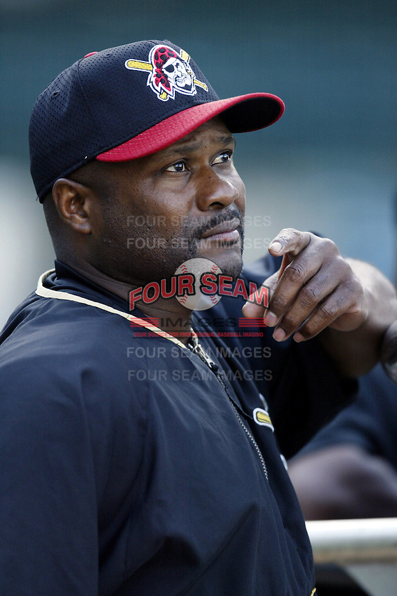 Pittsburgh Pirates Manager Lloyd McClendon before a 2002 MLB season game against the Los Angeles Angels at Angel Stadium, in Anaheim, California. (Larry Goren/Four Seam Images)