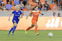 Houston, TX - Sunday Sept. 25, 2016: Megan Rapinoe, Andressa Machry during a regular season National Women's Soccer League (NWSL) match between the Houston Dash and the Seattle Reign FC at BBVA Compass Stadium.