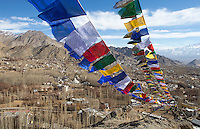 Prayer flags flutter over the city of Leh in northern India.