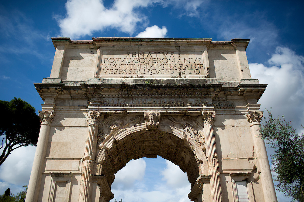 The Arch of Titus is seen in the Roman Forum on Wednesday, Sept. 23, 2015, in Rome, Italy. (Photo by James Brosher)