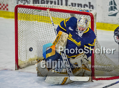 21 February 2015:  Merrimack College Warrior Goaltender Rasmus Tirronen, a Senior from Espoo, Finland, makes a first period save against the University of Vermont Catamounts at Gutterson Fieldhouse in Burlington, Vermont. The teams played to a scoreless tie to wrap up the regular home season for the Cats. Mandatory Credit: Ed Wolfstein Photo *** RAW (NEF) Image File Available ***