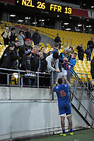 France's Mathieu Babillot signs autographs after the Steinlager Series international rugby match between the New Zealand All Blacks and France at Westpac Stadium in Wellington, New Zealand on Saturday, 16 June 2018. Photo: Dave Lintott / lintottphoto.co.nz