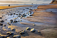 Brush Creek and setting sun on Oregon coast. Humbug Mountain State Park. Oregon