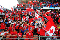 Fans in the grandstand during the 2017 Rugby League World Cup match between the Toa Samoa and Mate Ma'a Tonga at the FMG Stadium in Hamilton, New Zealand on Saturday, 4 November 2017. Photo: Dave Lintott / lintottphoto.co.nz