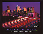 "Poster of the Philadelphia skyline at sunset with I-76. Black border, with ""Philadelphia"" and ""The Pennsylvania Portfolio"" written at the bottom"