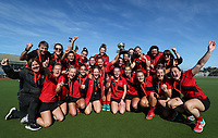 Canterbury Women celebrate. Under 21 National Hockey Championships, North Harbour Hockey Stadium, Auckland, Saturday 11 May 2019. Photo: Simon Watts/Hockey NZ