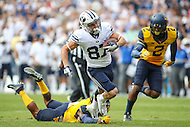 Landover, MD - September 23, 2016: BYU Cougars wide receiver Mitchell Juergens (87) in action during game between BYU and WVA at  FedEx Field in Landover, MD.  (Photo by Elliott Brown/Media Images International)