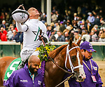 November 2, 2018: Bulletin #5, ridden by Javier Castellano, wins the Juvenile Turf Sprint on Breeders' Cup World Championship Friday at Churchill Downs on November 2, 2018 in Louisville, Kentucky. Casey Phillips/Eclipse Sportswire/CSM