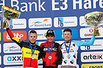 Greg Van Avermaet (BEL) BMC Racing Team wins with  Philippe Gilbert (BEL) Quick-Step Floors in 2nd place and Oliver Naesen (BEL) AG2R La Mondiale in 3rd on the podium at the end of the 60th edition of the Record Bank E3 Harelbeke 2017, Flanders, Belgium. 24th March 2017.<br /> Picture: Yuzuru Sunada | Cyclefile<br /> <br /> <br /> All photos usage must carry mandatory copyright credit (&copy; Cyclefile | Yuzuru Sunada)