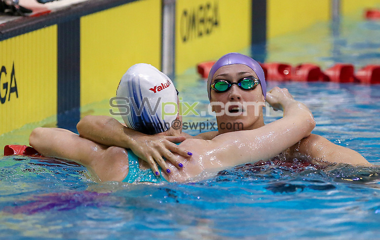 Picture by Alex Whitehead/SWpix.com - 13/04/2016 - Swimming - British Swimming Championships 2016 - Tollcross International Swimming Centre, Glasgow, Scotland - Georgia Davies (R) is congratulated by Elizabeth Simmonds (L) after the Womens Open 100m Backstroke final.