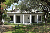 French Legation Museum, housed in the historic legation building built in 1841 to represent the French government in the new Republic of Texas, in Austin, Texas, USA. The house is an example of Creole vernacular architecture with its dormers, hip roof and gallery porch, and was possibly designed by Thomas William Ward. The property is now managed by the the Texas Historical Commission. Picture by Manuel Cohen