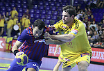 Velux EHF Champions League (day 3),Spain, Barcelona FC Barcelona Intersport beat 36-24 IK Savehof at Palau Blaugrana. Picture show ALbert Rocas and Frederik Larsson