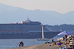 Seattle, Holland America Cruise Lines cruise ship Westerdam outbound from Port of Seattle for Alaska, Discovery Park, Puget Sound, Olympic Mountains, Washington State, Pacific Northwest, USA,