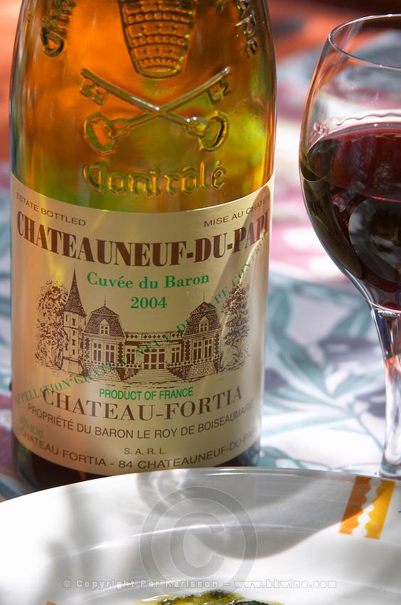 chateau fortia cuvee du baron restaurant verger des papes chateauneuf du pape rhone france