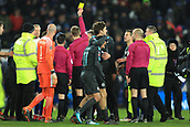 18th March 2018, King Power Stadium, Leicester, England; FA Cup football, quarter final, Leicester City versus Chelsea; Marcos Alonso celebrates the win with Pedro of Chelsea as referee Craig Pawson shows Kasper Schmeichel of Leicester City a yellow card for questioning his call
