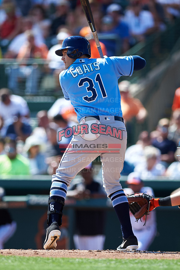 Tampa Bay Rays left fielder Jason Coats (31) at bat during a Grapefruit League Spring Training game against the Baltimore Orioles on March 1, 2019 at Ed Smith Stadium in Sarasota, Florida.  Rays defeated the Orioles 10-5.  (Mike Janes/Four Seam Images)