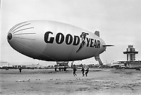 Last flight of the Goodyear Blimp at the Oakland Airport..(June 16,1975) photo/Ron Riesterer