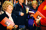 Monica Lewinsky, fans wait outside a bookshop where she is due to sign copies of her book Monica's Story, 1999 London UK. Harrods book store