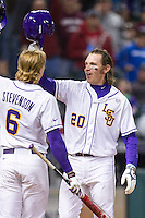 LSU Tigers third baseman Conner Hale (20) celebrates after belting a 2 run home run during the NCAA baseball game against the Houston Cougars on March 6, 2015 at Minute Maid Park in Houston, Texas. LSU defeated Houston 4-2. (Andrew Woolley/Four Seam Images)