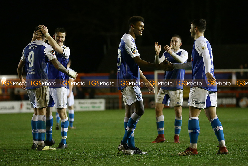Barrow players celebrate at the final whistle during Braintree Town vs Barrow, Vanarama National League Football at the IronmongeryDirect Stadium on 1st December 2018