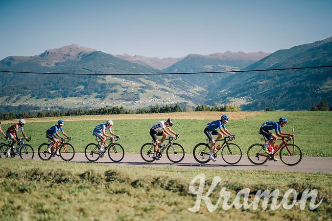 race leaders<br /> <br /> MEN JUNIOR ROAD RACE<br /> Kufstein to Innsbruck: 132.4 km<br /> <br /> UCI 2018 Road World Championships<br /> Innsbruck - Tirol / Austria