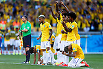 Brazil team group (BRA),<br /> JUNE 28, 2014 - Football / Soccer :<br /> Brazil team group celebrate in the penalty shoot out during the FIFA World Cup Brazil 2014 Round of 16 match between Brazil 1(3-2)1 Chile at Estadio Mineirao in Belo Horizonte, Brazil. (Photo by D.Nakashima/AFLO)