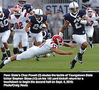 penn state's chaz powell college football youngstown state's stephan blose