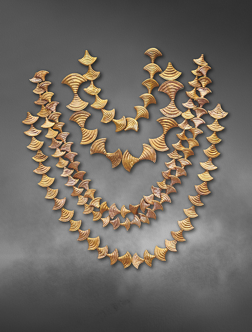 Mycenaean gold necklaces from the Mycenae chamber tombs, Greece. National Archaeological Museum Athens. Grey art Background <br /> <br /> From top to bottom: <br /> <br /> Top four  necklaces in the shape of papyrus flowers .<br /> <br /> Fifth necklace down in the shape of Ivy leaves from tomb 91 Cat No 3186