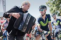pre-race serenade for Alejandro Valverde (ESP/Movistar)<br /> <br /> 69th Crit&eacute;rium du Dauphin&eacute; 2017<br /> Stage 8: Albertville &gt; Plateau de Solaison (115km)
