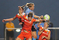Piscataway, NJ - Saturday July 09, 2016: Kristin Grubka, Rebecca Moros during a regular season National Women's Soccer League (NWSL) match between Sky Blue FC and the Houston Dash at Yurcak Field.