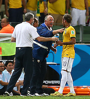 Brazil head coach Luiz Felipe Scolari points at Neymar of Brazil