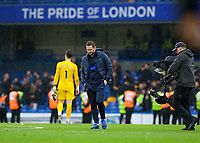 9th November 2019; Stamford Bridge, London, England; English Premier League Football, Chelsea versus Crystal Palace; Chelsea Manager Frank Lampard looking down on the after full time - Strictly Editorial Use Only. No use with unauthorized audio, video, data, fixture lists, club/league logos or 'live' services. Online in-match use limited to 120 images, no video emulation. No use in betting, games or single club/league/player publications