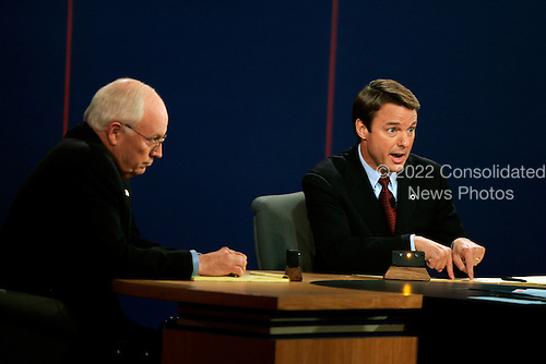 Cleveland, Ohio - October 5, 2004 -- United States Senator John Edwards (Democrat of North Carolina), right, the Democratic candidate for Vice President, makes a point in the debate against his rival, United States Vice President Dick Cheney, the Republican nominee, left, in the first and only Vice Presidential debate held at Case Western Reserve University in Cleveland, Ohio on October 5, 2004...Credit: Jay L. Clendenin - Pool via CNP..