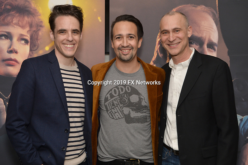 "NEW YORK - APRIL 7: Steven Levenson, Lin-Manuel Miranda and Joe Fields attend the screening of FX's ""Fosse Verdon"" presented by FX Networks, Fox 21 Television Studios, and FX Productions at the Museum of Modern Art on April 7, 2019 in New York City. (Photo by Anthony Behar/FX/PictureGroup)"
