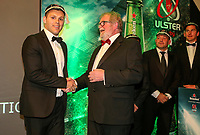 Thursday 10th May 2018 | Ulster Rugby Awards 2018<br /> <br /> Ulster Branch President, Graffin Parke, presents Darren Cave with his 200 Cap during the 2018 Heineken Ulster Rugby Awards at La Mom Hotel, Belfast. Photo by John Dickson / DICKSONDIGITAL