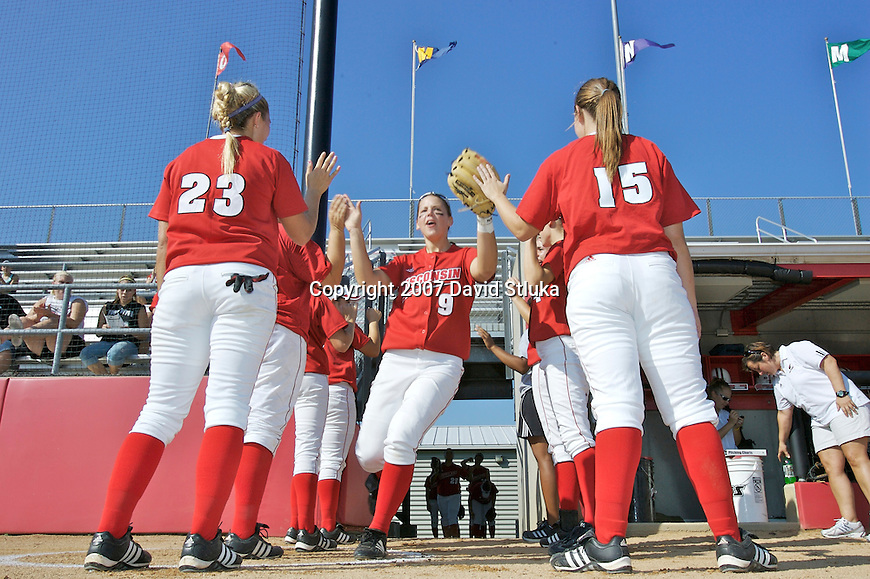 MADISON, WI - OCTOBER 6: Katie Hnatyk #9 of the Wisconsin Badgers softball team is introduced prior to the game against UW-Parkside at the Goodman Softball Complex in Madison, Wisconsin on October 6, 2007. The Badgers beat UW-Parkside 5-4. (Photo by David Stluka).