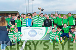 Killarney Celtic celebrate their 1-0 victory over Dingle Bay Rovers in the Denny Premier A final last Friday night at the KDL, Mounthawk, Tralee.